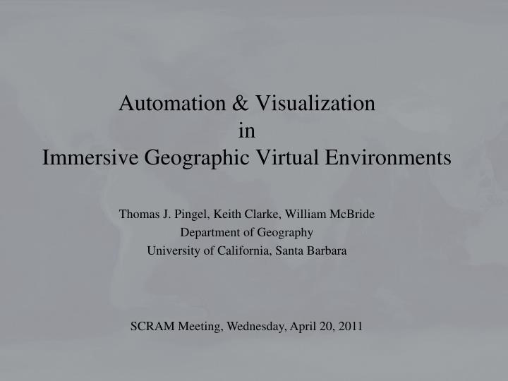 automation visualization in immersive geographic virtual environments n.
