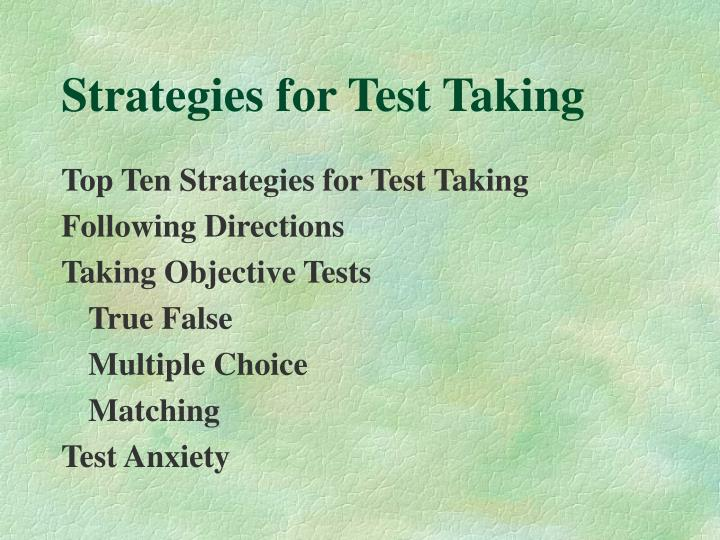 Strategies for test taking3