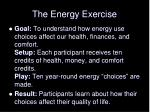 the energy exercise