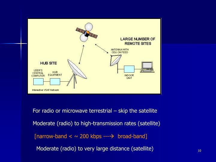 For radio or microwave terrestrial – skip the satellite