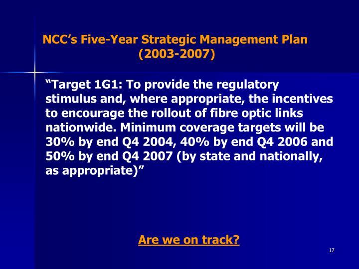 NCC's Five-Year Strategic Management Plan