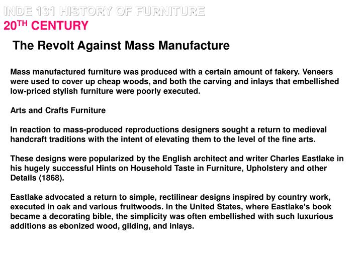 inde 131 history of furniture 20 th century n.