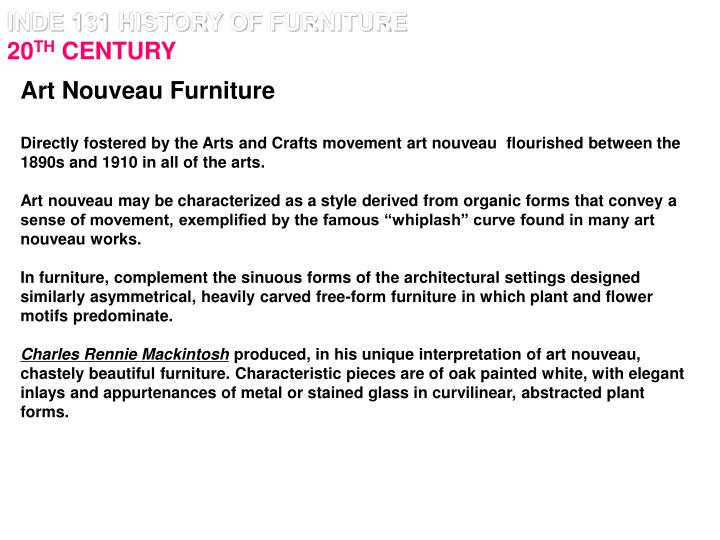 Inde 131 history of furniture 20 th century2