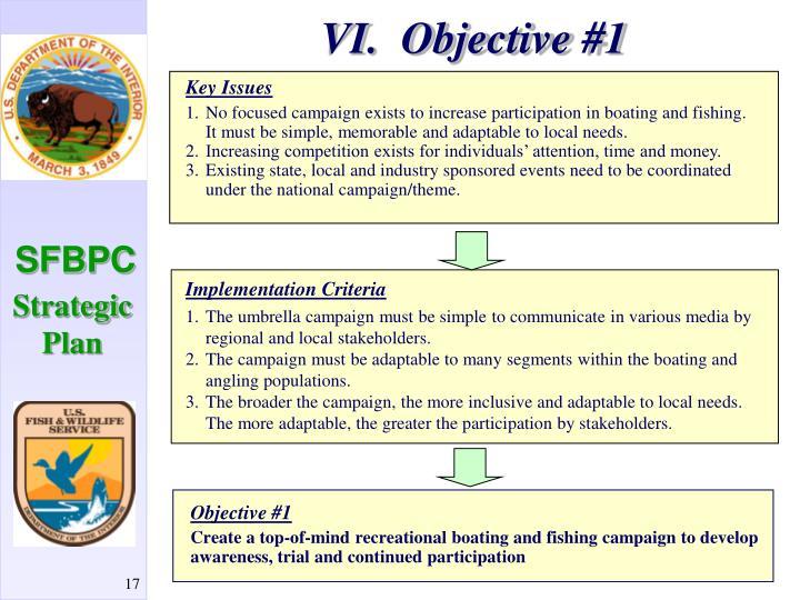 VI.  Objective #1