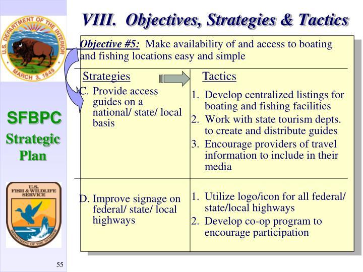 VIII.  Objectives, Strategies & Tactics