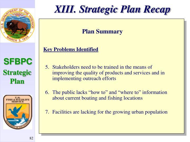 XIII. Strategic Plan Recap