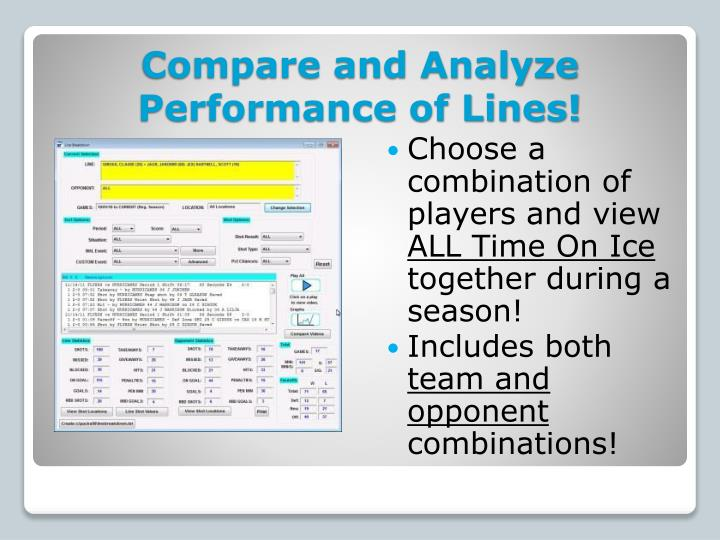 Compare and Analyze Performance of Lines!