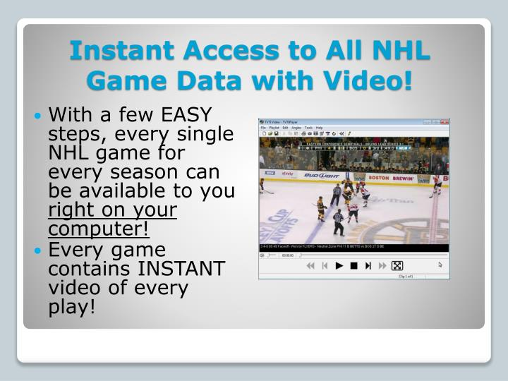 Instant access to all nhl game data with video
