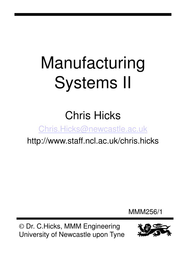 manufacturing systems ii n.