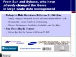 from sun and sybase who have already changed the game in large scale data management
