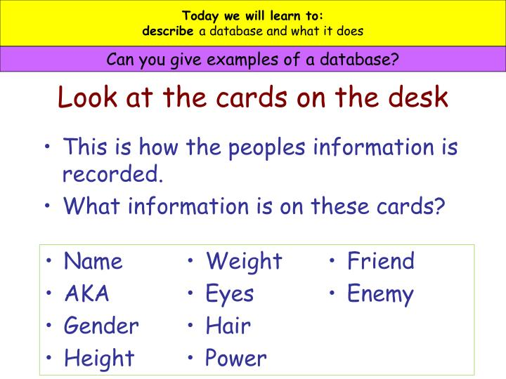 Look at the cards on the desk