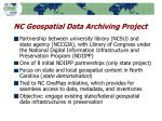 nc geospatial data archiving project