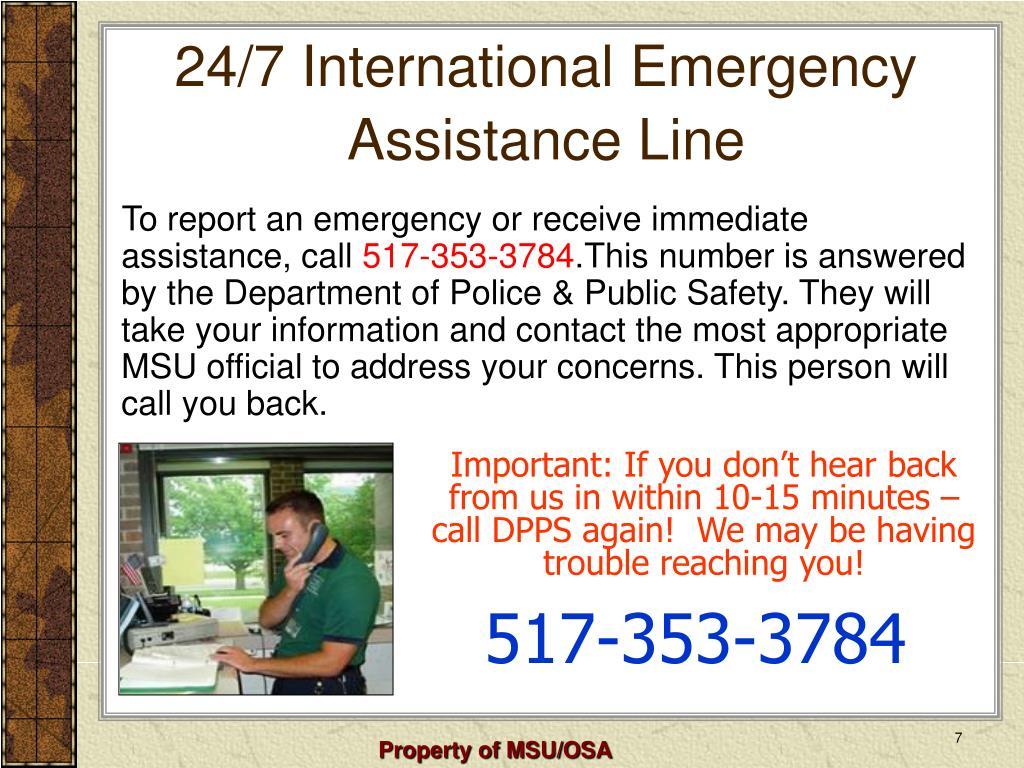 24/7 International Emergency Assistance Line