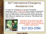 24 7 international emergency assistance line