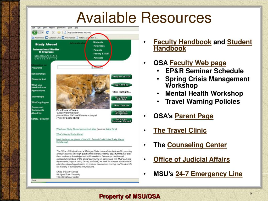 Available Resources