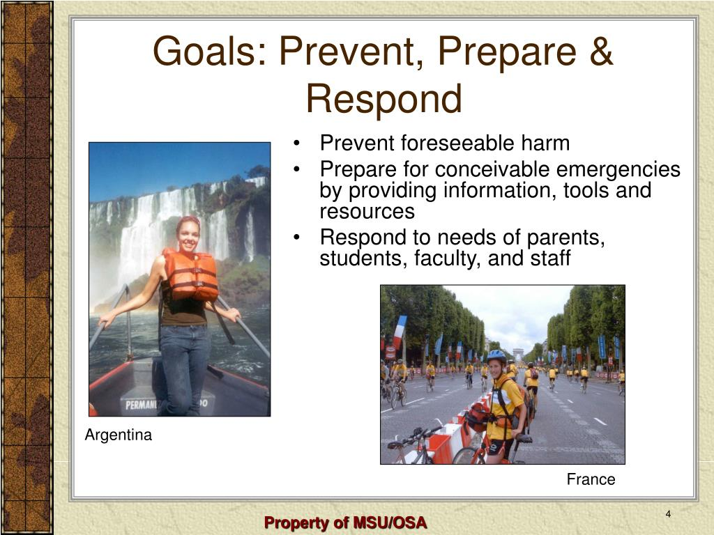 Goals: Prevent, Prepare & Respond