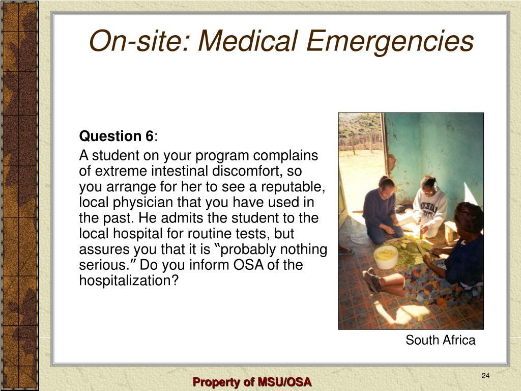 On-site: Medical Emergencies