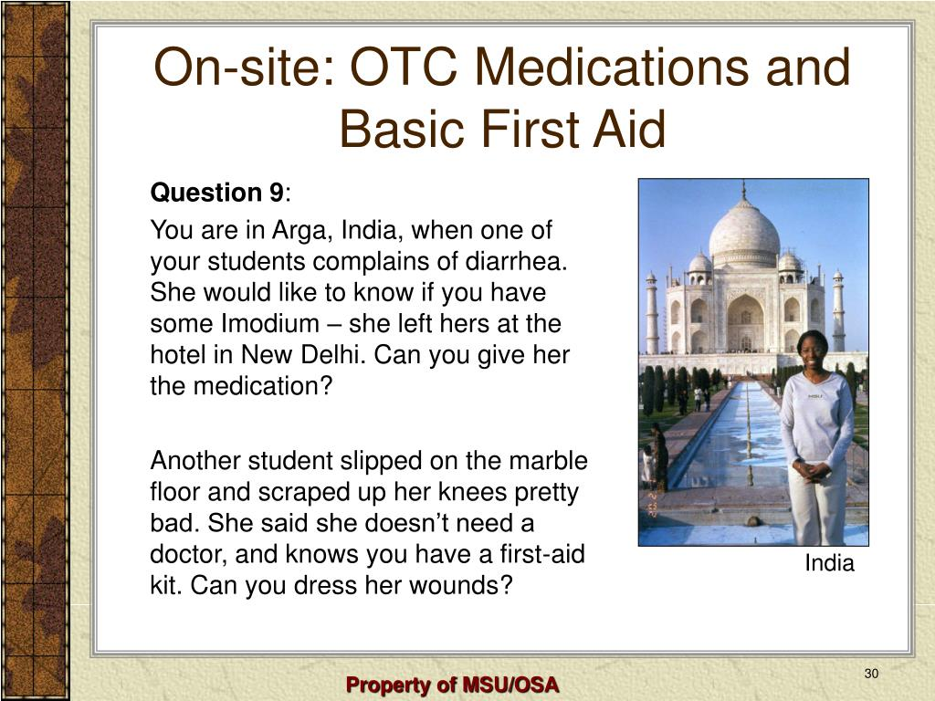 On-site: OTC Medications and Basic First Aid