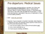 pre departure medical issues