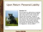 upon return personal liability