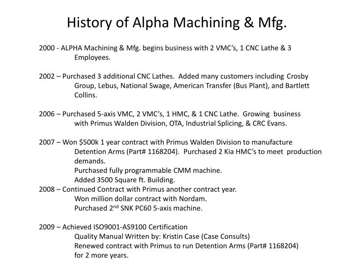 History of Alpha Machining & Mfg.