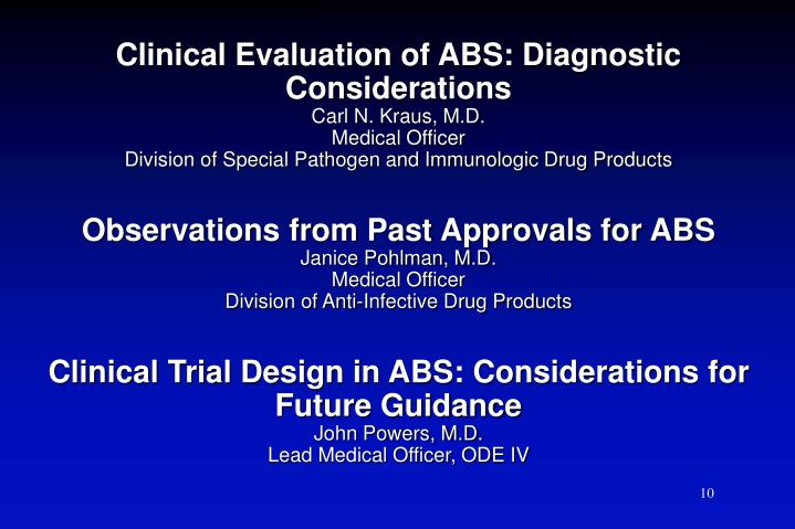 Clinical Evaluation of ABS: Diagnostic Considerations