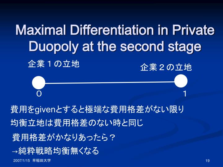 Maximal Differentiation in Private Duopoly at the second stage
