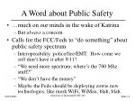 a word about public safety