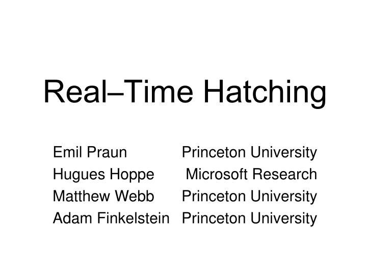 Real time hatching