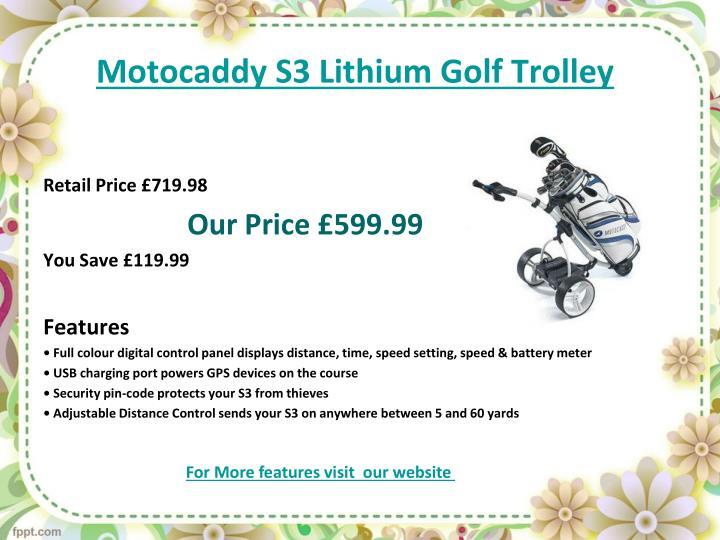 Motocaddy s3 lithium golf trolley