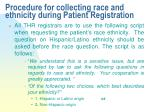 procedure for collecting race and ethnicity during patient registration