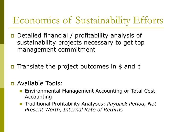 Economics of sustainability efforts