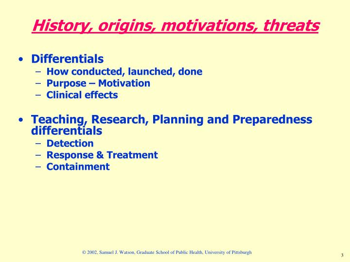 History origins motivations threats