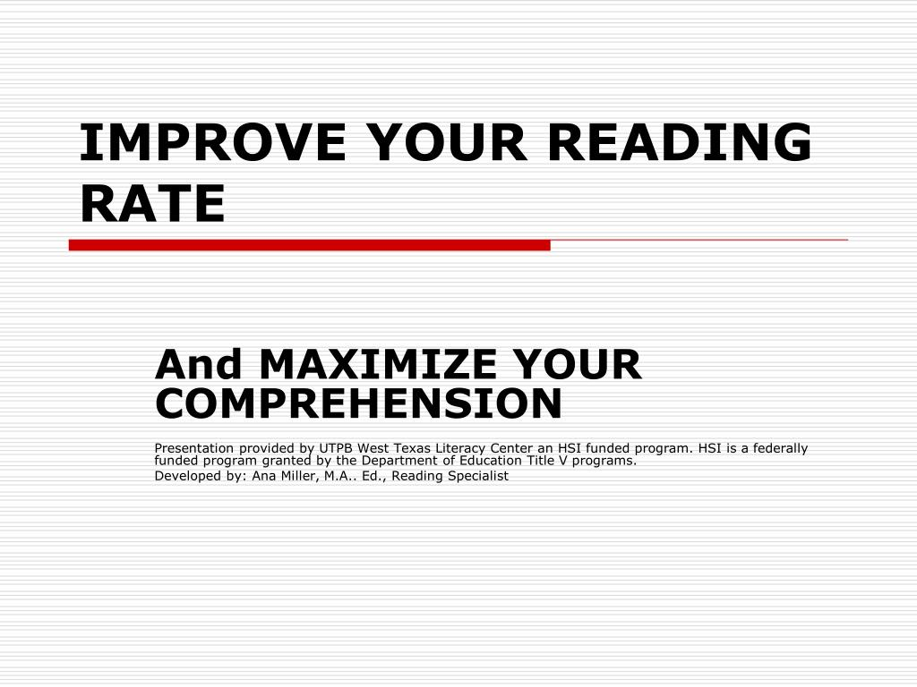 improve your reading rate l.
