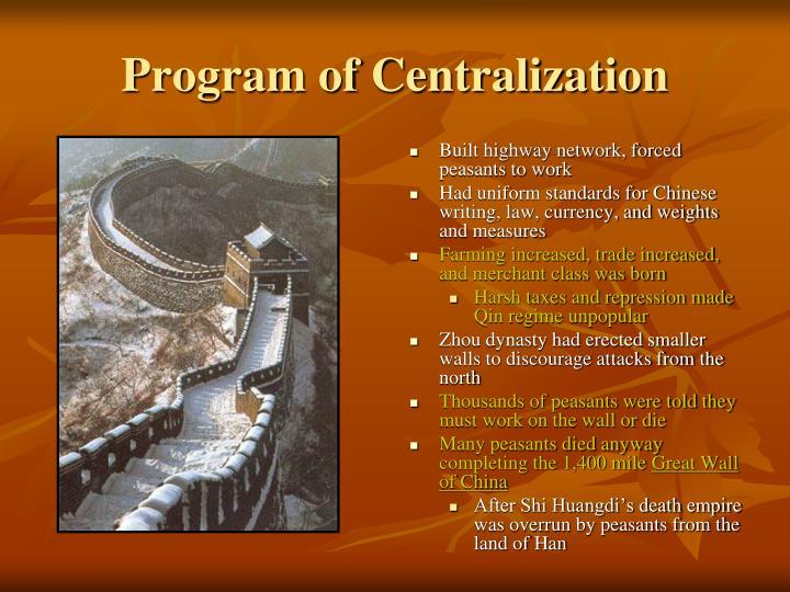 Program of Centralization