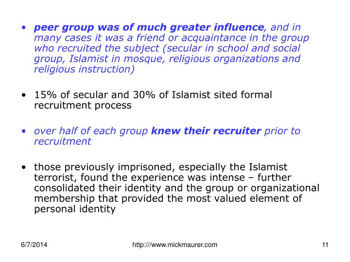peer group was of much greater influence