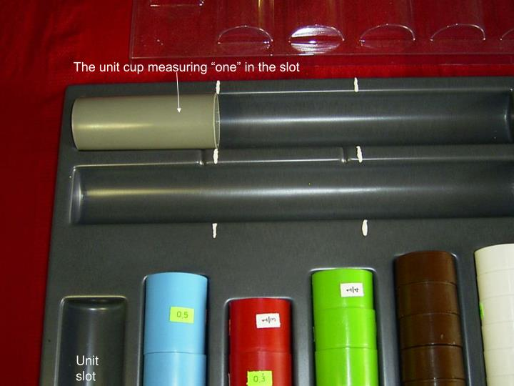 """The unit cup measuring """"one"""" in the slot"""