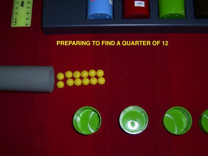 PREPARING TO FIND A QUARTER OF 12