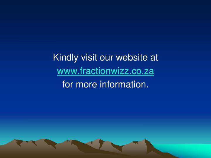 Kindly visit our website at