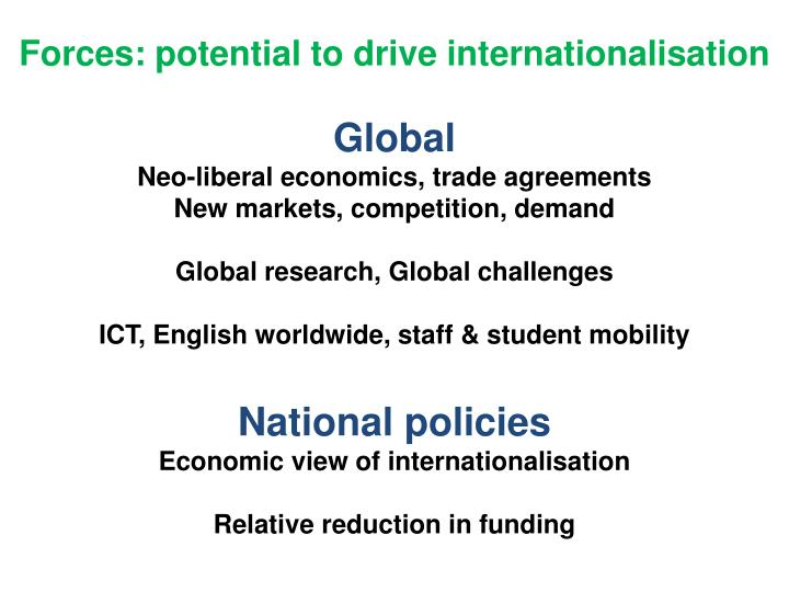 Forces: potential to drive internationalisation