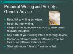 proposal writing and anxiety general advice