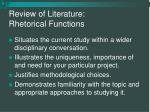 review of literature rhetorical functions