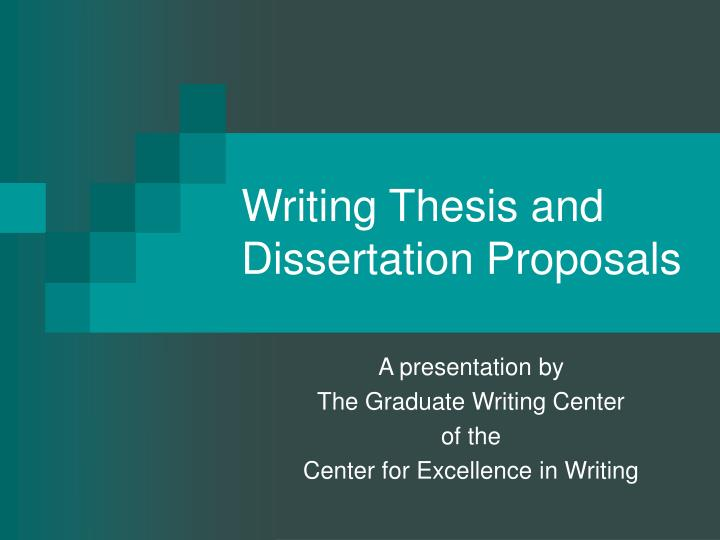 writing thesis and dissertation proposals n.