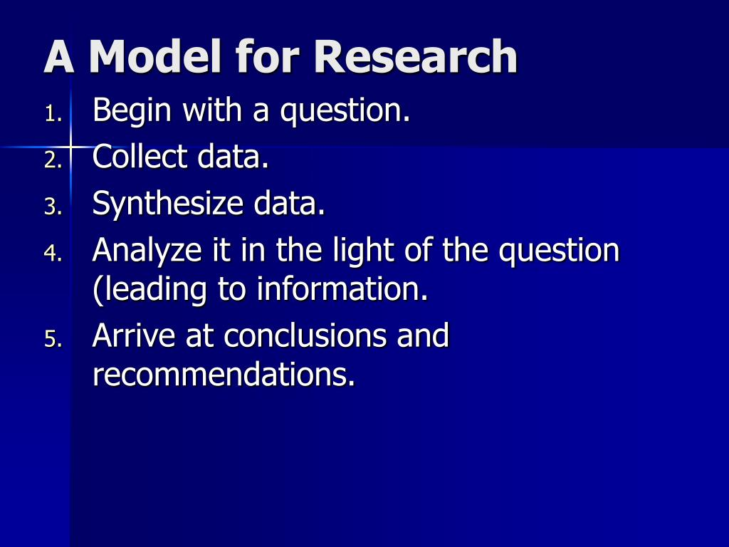 A Model for Research