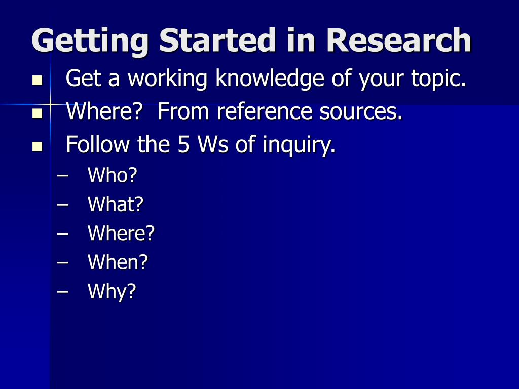 Getting Started in Research