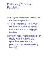 preliminary financial feasibility