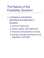 the nature of the feasibility question6
