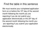 find the table in this sentence