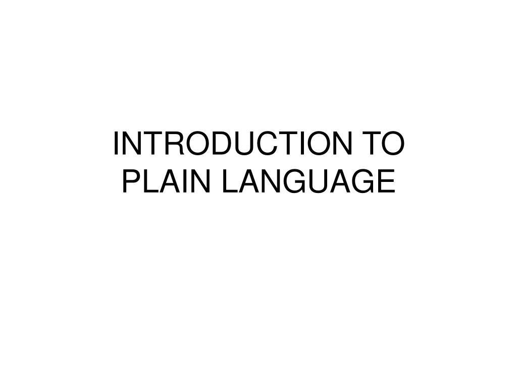 introduction to plain language l.