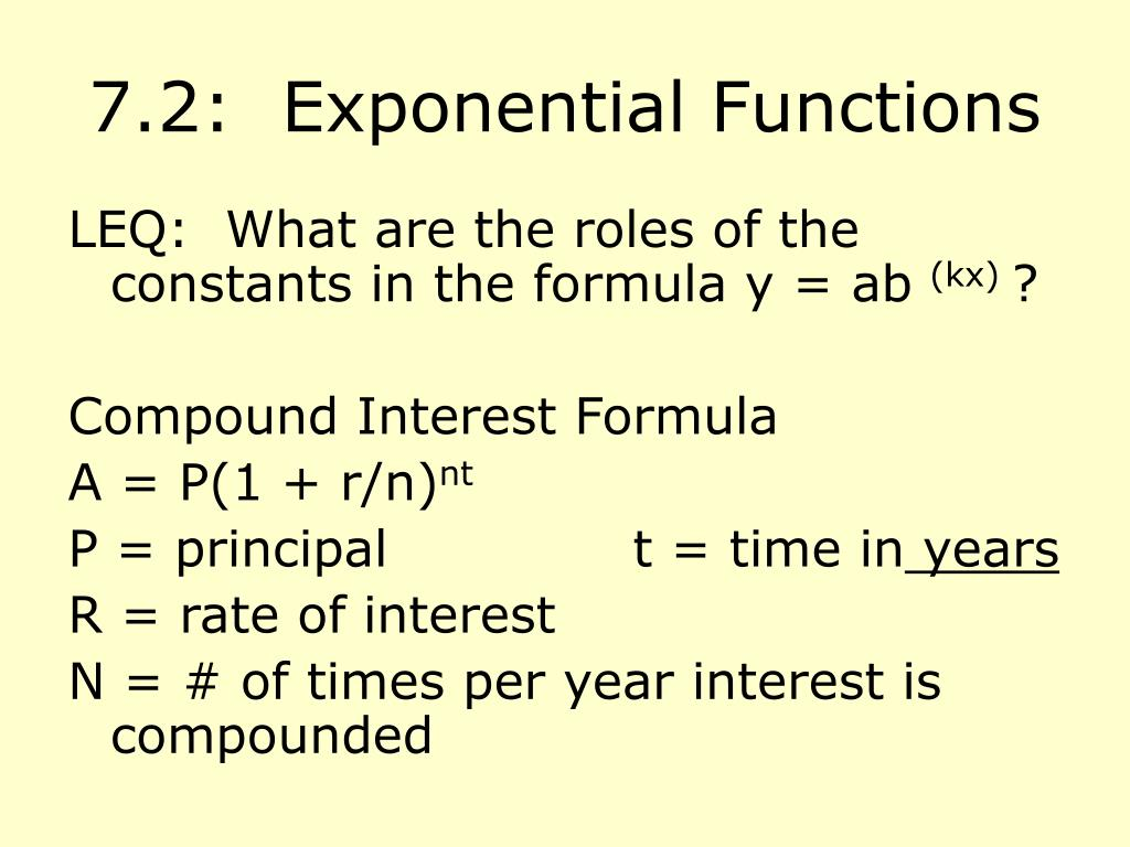 7.2:  Exponential Functions